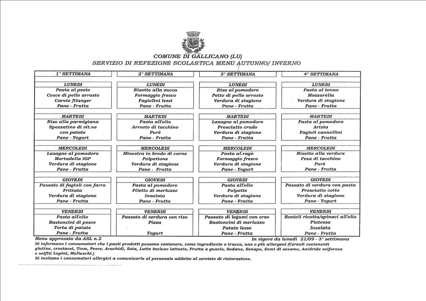 comune di verona refezione scolastica menu