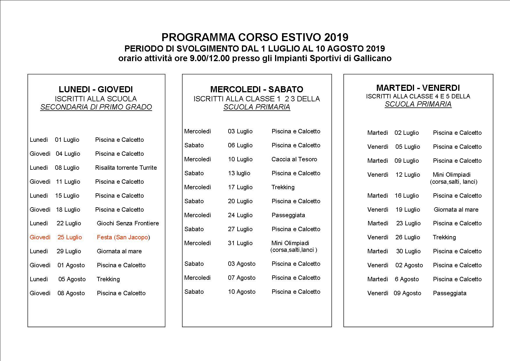Calendario Giugno Luglio Agosto 2019.Comune Di Gallicano Sito Ufficiale Del Comune Di Gallicano